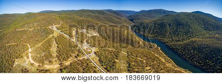 Aerial Panorama Of Snowy River And Hydro Surge Tower Near Mount Kosciuszko National Park, Australia