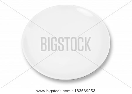 White plate with shadow on white background isolated