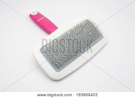 Closeup To Pink And White Brush For Pet, Isolated
