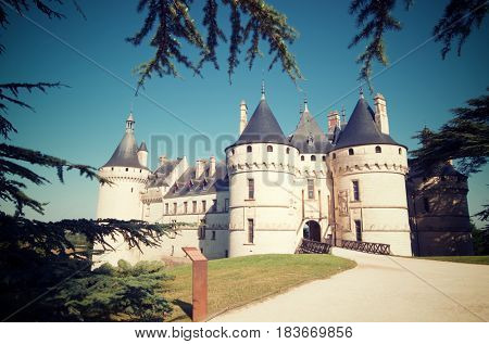 Entrance to the castle of Chaumont Sur Loire, Loire Valley, France. Originally built in the 10th century, has undergone multiple renovations until reaching its present appearance