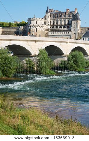 Loire river as it passes through the medieval town of Amboise, Loire Valley, France