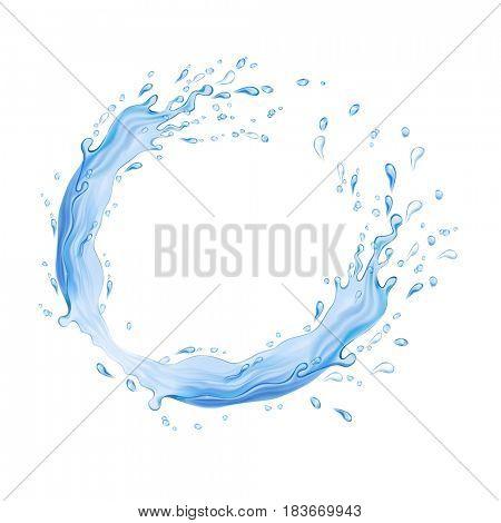 Water frame. Splash of water flow in a circle. The raster version.