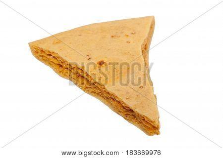 Dessert caramel honeycomb isolated a white background
