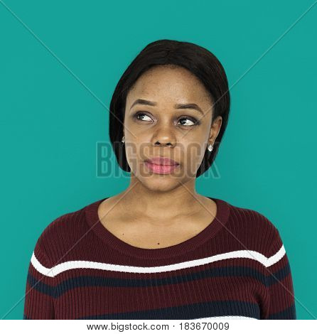 African descent woman is in a studio shoot