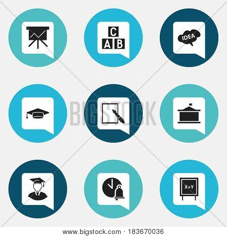 Set Of 9 Editable Education Icons. Includes Symbols Such As Alphabet Cube, Univercity, Blackboard And More. Can Be Used For Web, Mobile, UI And Infographic Design.