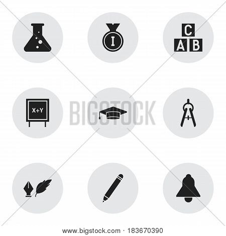 Set Of 9 Editable Science Icons. Includes Symbols Such As Math Tool, Pencil, Alphabet Cube And More. Can Be Used For Web, Mobile, UI And Infographic Design.