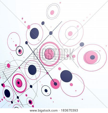 Bauhaus art dimensional composition perspective purple modular vector backdrop with circles and grid. Retro style pattern graphic backdrop for use as booklet cover template.