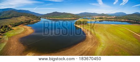 Aerial Panoramic Landscape Of Lake Buffalo. Alpine Shire, Victoria, Australia