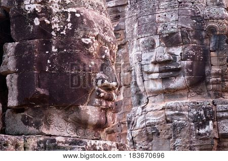 Ancient bas-relief at the Upper terrace of Prasat Bayon temple (late 12th - early 13th century) in Angkor Thom Cambodia