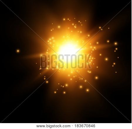star on a blue background.bright flash.Realistic burst with flare. Vector illustration.EPS 10.