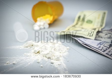 Cocaine Drug Powder Pile Along With Several Dollar Tickets