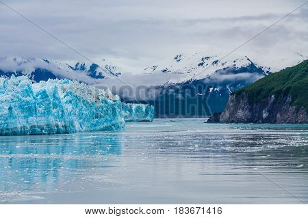Hubbard Glacier in Alaska under Cloudy Skies