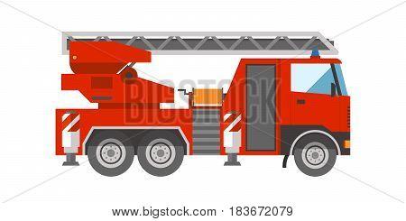 Firetruck on white background emergency vehicle rescue ladder department help transportation vector illustration. Safety big burning light siren save car danger transport.