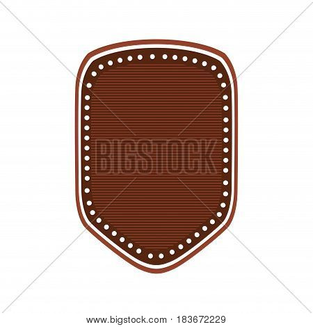 realistic brown color heraldic shield with striped inside and decorative dotted vector illustration