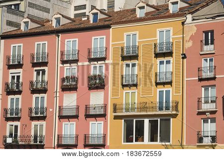Burgos (Castilla y Leon Spain): facade of historic building with balconies in the Plaza Mayor
