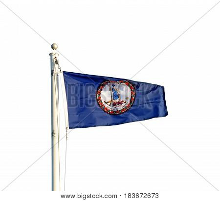 Flag of the Commonwealth of Virginia flying from a white pole isolated against a white background