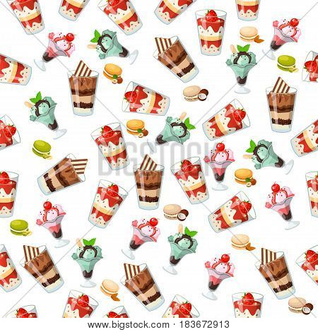 Very high quality original trendy seamless pattern with chocolate, cherry and mint ice cream in a glass