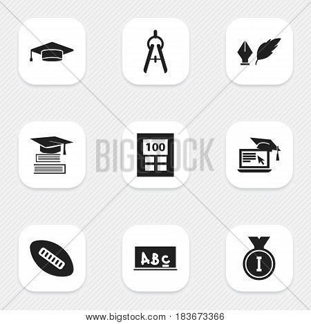 Set Of 9 Editable Education Icons. Includes Symbols Such As First Place, Math Tool, Education And More. Can Be Used For Web, Mobile, UI And Infographic Design.