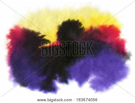 Watercolor spot isolated on a white background. Hand-drawn illustration.