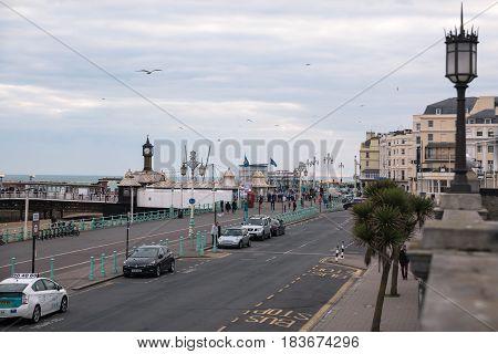 Brighton, England. 13 April 2017. King's Street and Brighton Pier