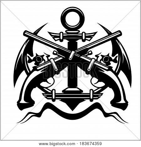 Vector illustration pirate sign - crossed old pistols and anchor