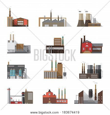 Set of industrial factory and plant buildings. Collection manufacturers with smoking chimneys. Vector colorful illustration in flat style