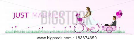Just married - wedding. Bridal couple with bicycle in a field full of heart flowers and with balloons. Pink shade.