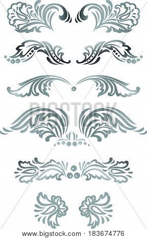 Ornate vector floral silver decorative elements frames borders deviders set in Russian hohloma style.