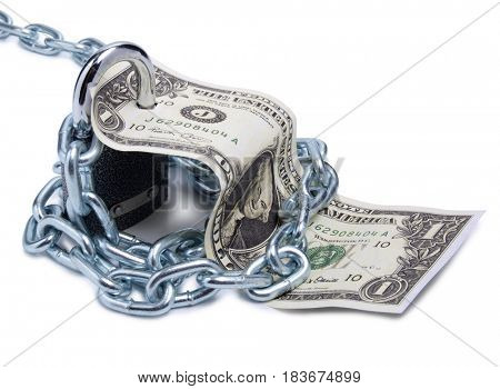 Several paper dollars and padlock on white background