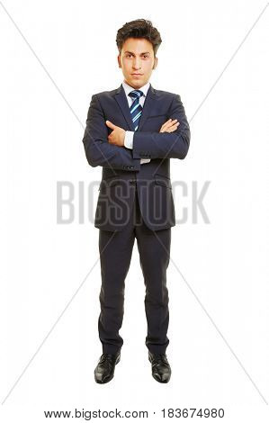 Serious looking business man isolated frontal on white background