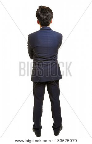 Pensive business man in a suit from behind isolated on white background