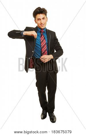 Business man leaning with his arm on an imaginary object