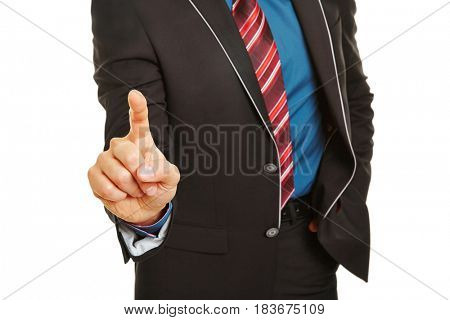 Index finger of manager pressing virtual touchscreen