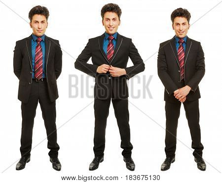 Three versions of business man in a suit standing frontal isolated on a white background