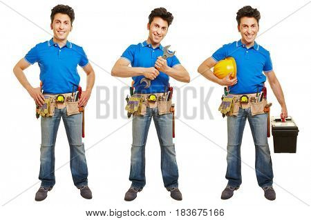 Full body shot of handyman or artisan in different versions isolated on white background