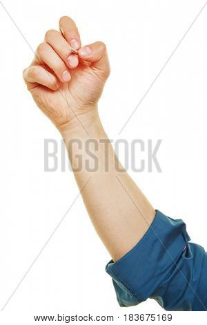 Front view of hand with brush painting isolated on a white background