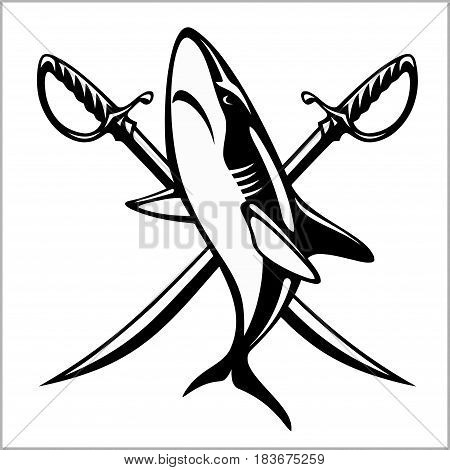Vector illustration pirate emblem with crossed sibers and shark. Sea robbers emblem.