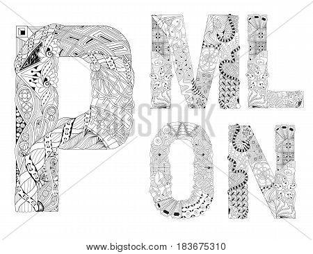 Hand-painted art design. Black and white hand drawn illustration alphabet. Part 3