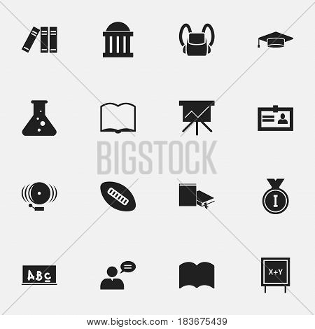 Set Of 16 Editable Science Icons. Includes Symbols Such As Chemistry, Courtroom, Blackboard And More. Can Be Used For Web, Mobile, UI And Infographic Design.