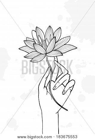 Hand holding lotus flower. Contour hand drawn illustration. yoga, meditation, awakening symbol