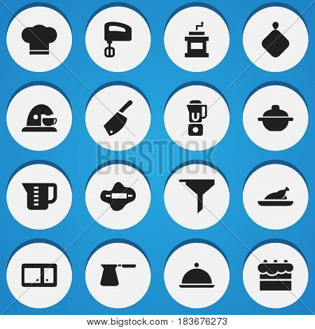 Set Of 16 Editable Meal Icons. Includes Symbols Such As Dough, Mensural, Mocha Grinder And More. Can Be Used For Web, Mobile, UI And Infographic Design.