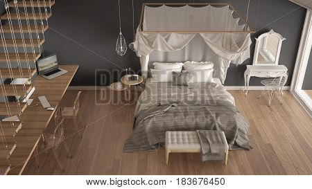 Canopy bed in minimalistic white and gray bedroom with big window scandinavian classic interior design top view, 3d illustration