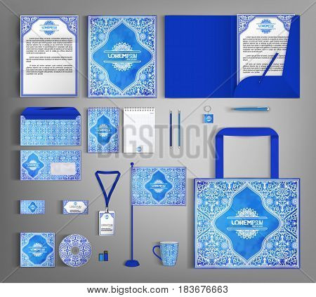 Luxurious blue corporate identity template with floral pattern. Vector company style for brandbook and guideline. Business stationery