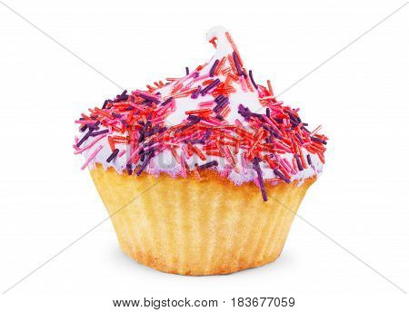 cupcake with white icing and sprinkles against white background