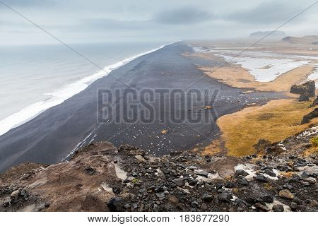 Icelandic Coastal Landscape. Atlantic Ocean Beach