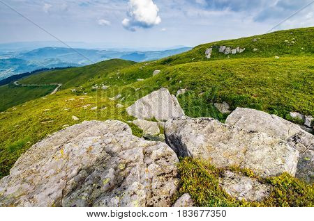 Meadow With Boulders In Carpathian Mountains In Summer