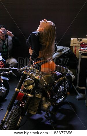 St. Petersburg Russia - 15 April, Light on the model,15 April, 2017. International Motor Show IMIS-2017 in Expoforurum. Models on motorcycles presented at the motor show.