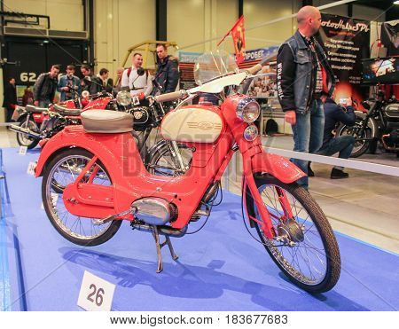 St. Petersburg Russia - 15 April, Perimeter model of the motorcycle JAVA,15 April, 2017. International Motor Show IMIS-2017 in Expoforurum. Motorcycles and motoconcepts presented at St. Petersburg Motor Show.