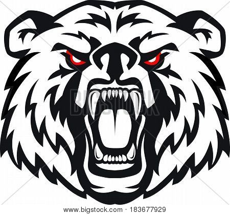 Vector illustration of furious angry face of terrible bear with open mouth and terrible teeth. Great for use as logo element icon as a tattoo or as symbol of strength and aggressiveness.