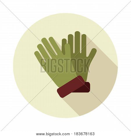 Rubber garden gloves flat vector icon. Icon rubber gloves for working in the garden. Icon household rubber gloves. Vector illustration.